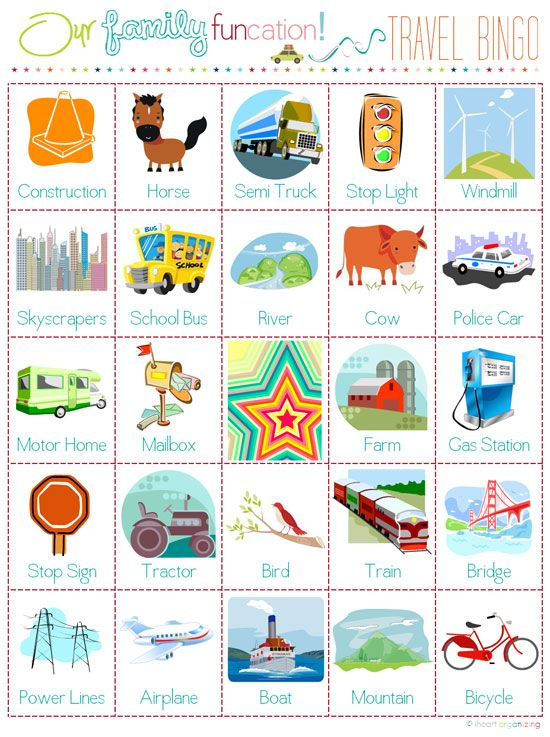 Fun idea to create a travel activity for your kids... printable pages for travel bingo, license plate game, and more.
