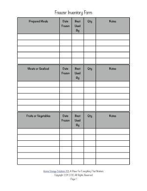 Free printable freezer inventory form