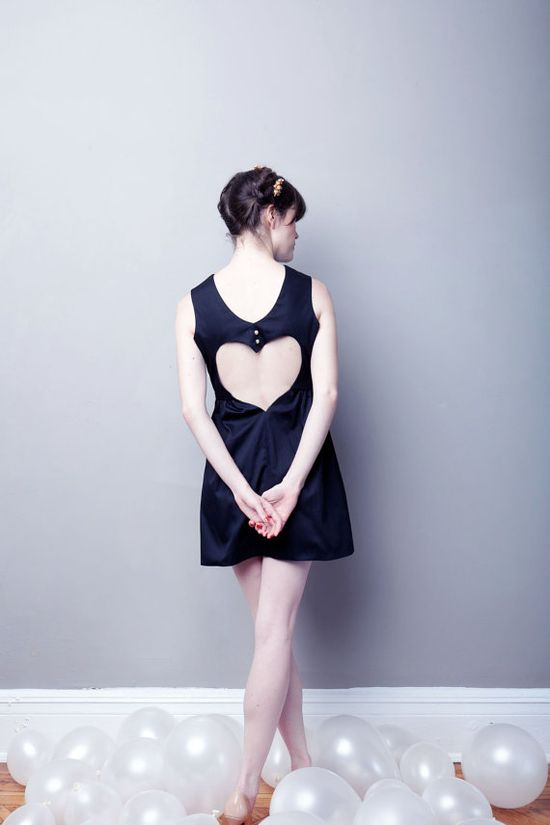 If I Only Had A COTTON Heart Dress - Black Ready to Ship