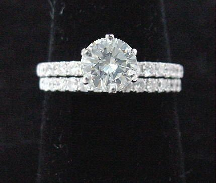 Bridal Wedding Ring and Band 14k White Gold Round Solitaire Diamond Ring with Diamonds 1.31ct .73ct Center- Engagement Ring and Wedding Band. $1,950.00, via Etsy.