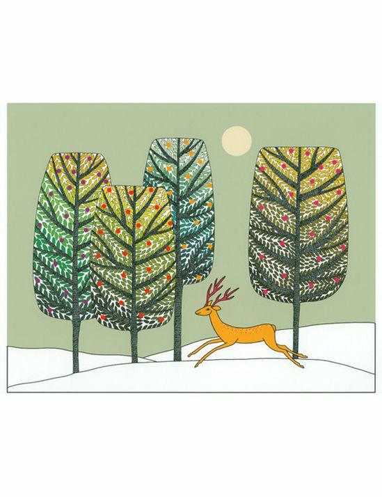 Art Illustration A4 Print Green Gold Brown Trees Golden Deer Snow Landscape Decorative Art. $12.00, via Etsy.