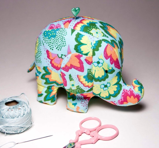 Sea Glass Elephant Pincushion $26