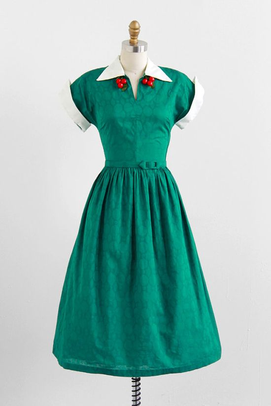 vintage green dress + red cherries dress