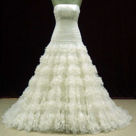 Froofy, but lovely. Designer Inspired Chiffon & Lace Wedding by WeddingDressFantasy, $709.00
