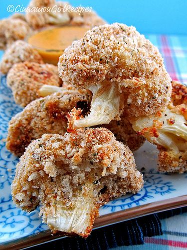 Breaded Cauliflower with Cheddar Mustard Dipping Sauce