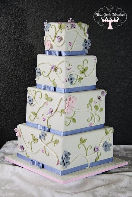 Flowers and Vines Wedding Cake