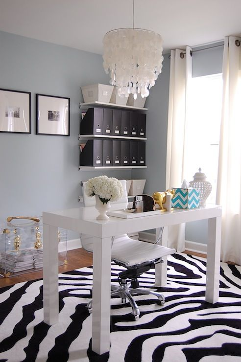 dens/libraries/offices - Benjamin Moore - Smoke - Walmart Zebra Rug, Black and White, West Elm Capiz Chandelier, West Elm Parsons Desk, West Elm Lacquer Tray, Haymarket Designs Chevron Tissue Box in Peacock, Two's Company Medium Carthage Pierced Covered Lantern, Overstock Malibu High-back White Vinyl Office Chair, The Container Store Open Canvas Bin, The Container Store Graphite Magazine File, Acrylic Trunk, Gold Wishbone, west elm desk, parsons desk, white parsons desk, parsons desk with drawers, lacquer tray, white lacquer tray, west elm white lacquer tray, gold pig, gold pig bookends, cb2 bookends, pig bookends, gold bookends, office, home office, chevron tissue box, peacock blue tissue box, capiz chandelier, white capiz chandelier, overstock desk chair, zebra rug, jcp curtains, jcp drapes, jcp window panels, jcp grommet curtains, jcp grommet drapes, white grommet curtains, white grommet drapes, acrylic trunk, acrylic trunk with brass hardware, floating shelves, office shelves, stacked shelves, black magazine files, open canvas bins, the container store bins, the container store magazine files, pierced covered lantern,