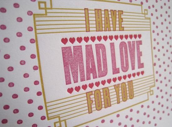 fun valentines letterpress greeting