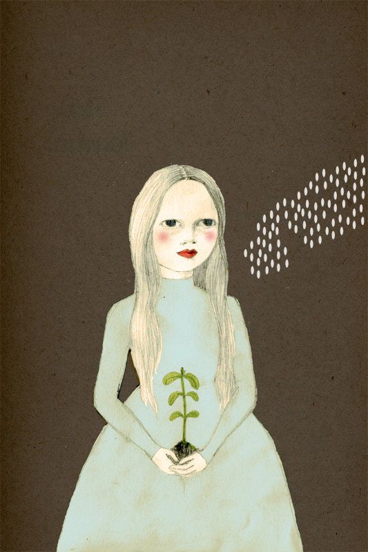 Planting Girl Delux Edition Print of original by IrenaSophia,