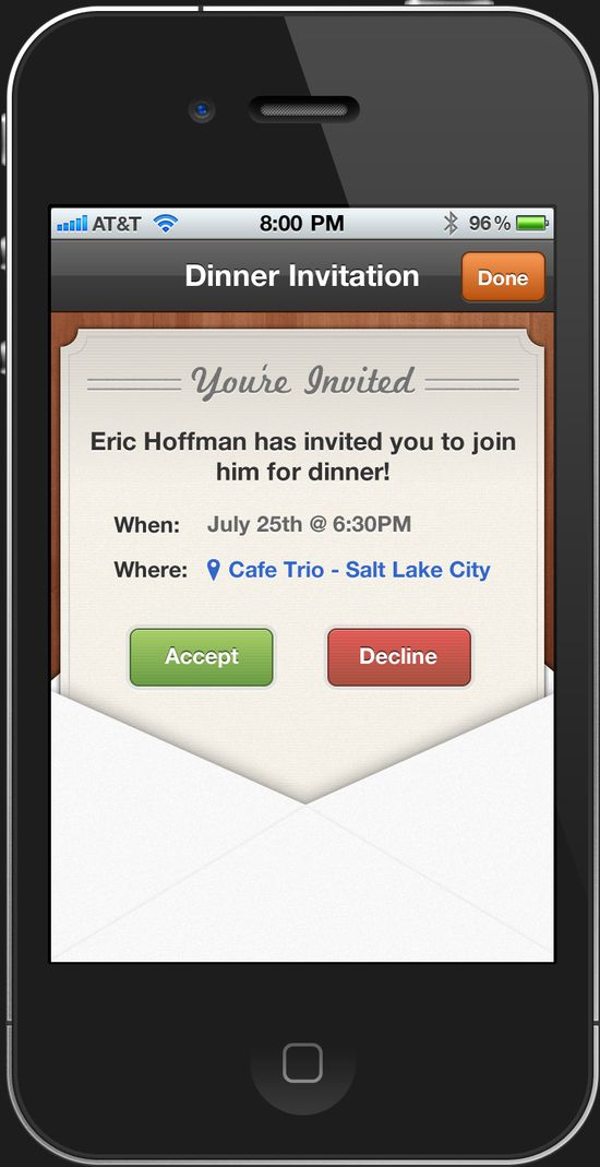 Meal Invite for iPhone app by Eric Hoffman