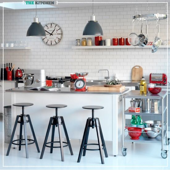 Industrial kitchen with tomato red accents (Tim Young for Ideal Home)