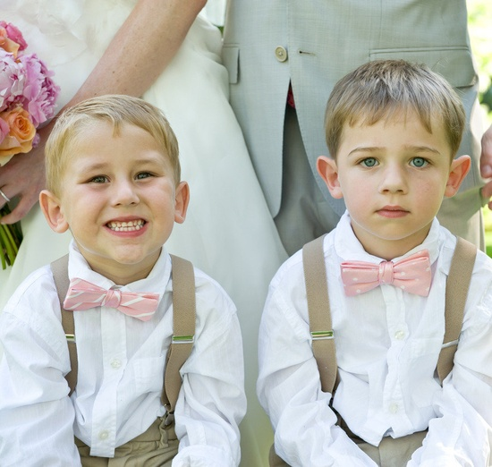 ring bearers with suspenders and bow ties.