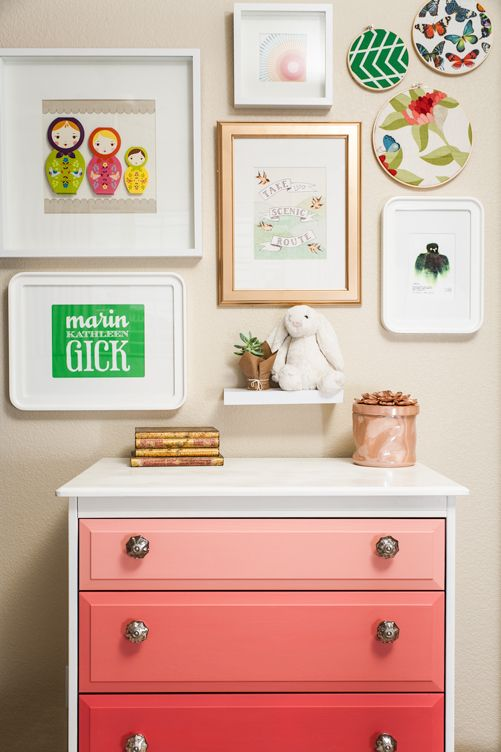 Like the art mix and display. ombre Dresser... Love the Tri color with the drawers, but I think I'd paint the dresser one of the colors as well.  Let it stand on its own with personality ... and not match the trim in the room.