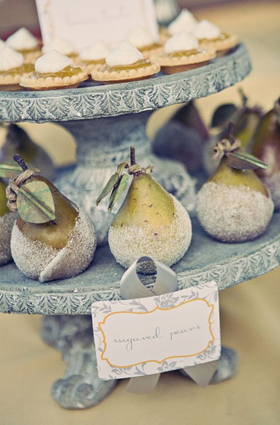 Marvelously pretty Sugared Pears, perfect for a wedding or elegant tea garden party. #wedding #pears #fruit #food #dessert
