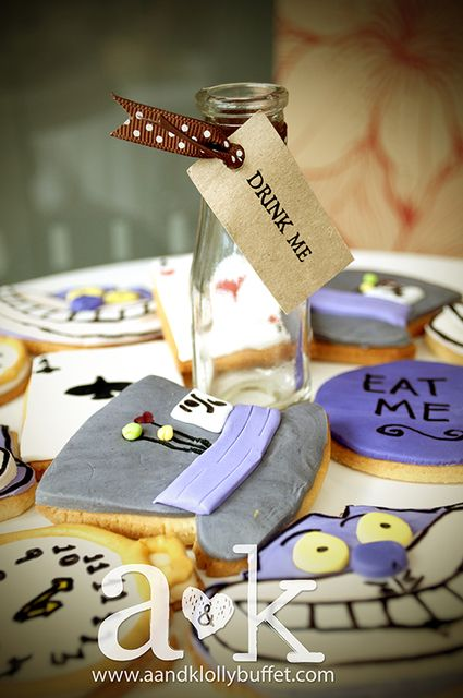 Check out these amazing cookies at a Alice in Wonderland party!  See more party ideas at CatchMyParty.com!  #aliceinwonderland #partyideas