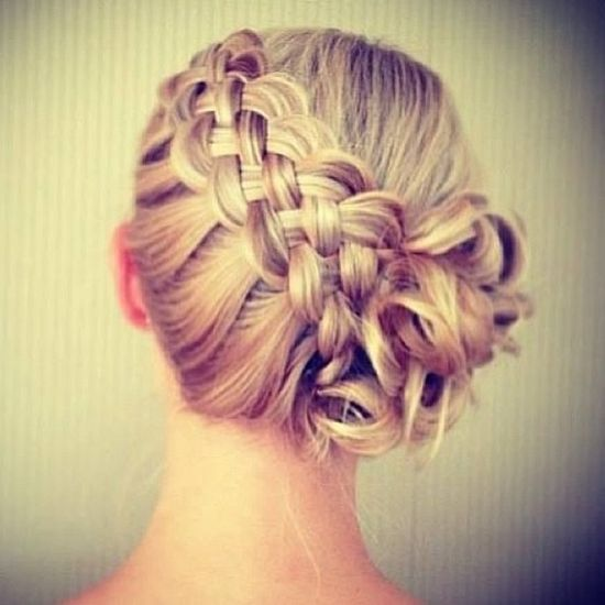 Hairstyle:  side braid (left) to side bun (right)