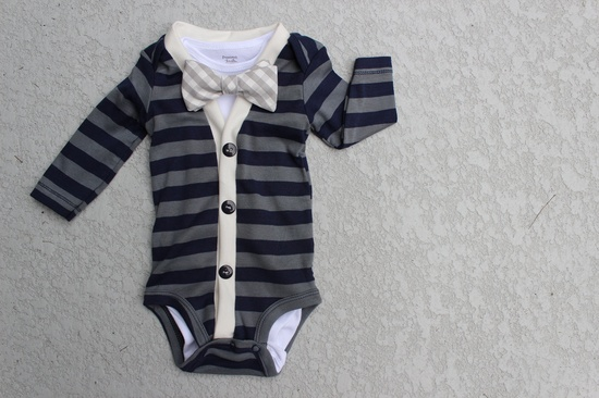 Cardigan and Bow Tie Onesie Set Navy and Grey Gingham