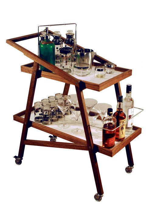 Retro bar cart for those nights of inspired, post-gig cocktails // Found @Jeffrey Kalmikoff Barninger on Etsy