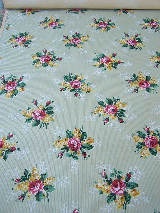 Vintage Wallpaper Summer Roses Motif and ticking pattern Shabby Cottage Floral Bouquets