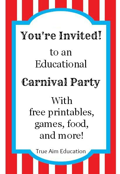 Throw an Educational Carnival Party: Games, Free Printables, and Food!  Perfect for a preschool, elementary or VBS!