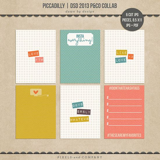 free 3x4 journal card printables - part of a large collaboration kit from the Pixels and Company designers