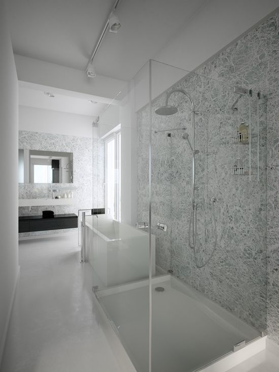BATHROOM // black + white bathroom...and the most incredible shower