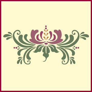 Our Rosemaling Pattern 17 stencil is a fancy and playful example of the beauty in reflections and variations - from The Artful Stencil