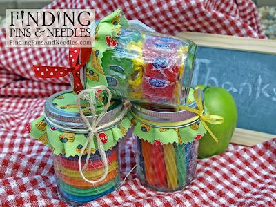 A SWEET bus driver or teacher gift, candy in a mason car. Free printable stop si