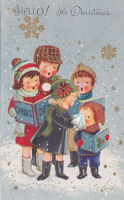 Christmas Carolers Vintage Greeting Card