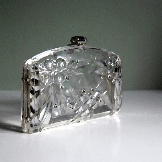 Slim lucite clutch purse with rhinestones