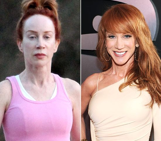 Kathy Griffin  On left: hiking in the Hollywood Hills on Sept. 29, 2012  On right: attending the 54th Annual Grammy Awards in L.A. on Feb. 12, 2012