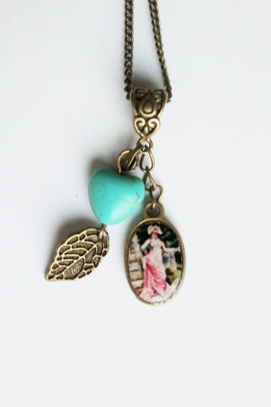 Cameo charm necklace, vintage necklace, turquoise heart necklace, charm necklace