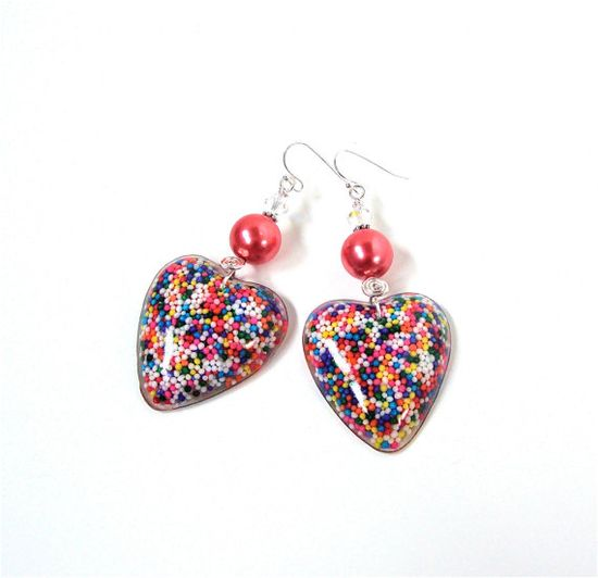 Adorable candy sprinkles heart earrings  by sparklecityjewelry