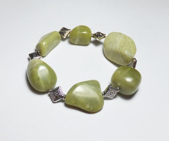 Green Serpentine and Silver Plated Beaded Stretch Bracelet by Designs by Tamiza, tzteja on Etsy, $12.00  #jewelry, #bracelet, #beaded, #designsbytamiza, #handmade, #ooak, #green, #serpentine, #jade, #natural, #gemstone, #silver