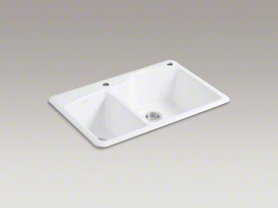 Wheatland 33x22 x95/8 top mount double bowl sink 2 faucet holes