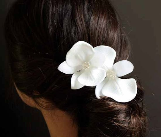 Ivory Orchid Hair Pins