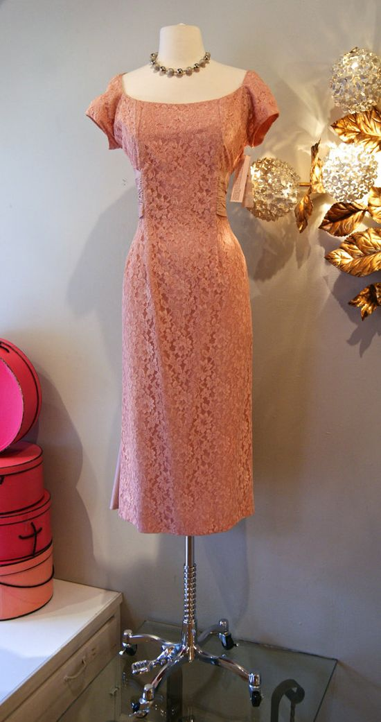 50's Dress// Vintage 1950's Peachy Pink Lace by xtabayvintage, $198.00