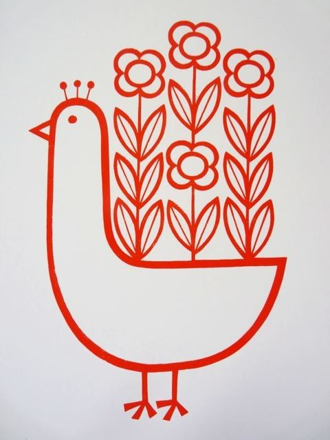 Scandinavian style screen printed Flowery Peacock ~ Jane Foster