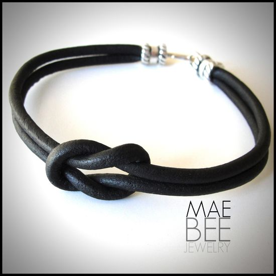 Square #Knot! The best of the nautical knots in one cool #bracelet. Two black leather 4mm cords are knotted together with a hook and eye clasp in sterling silver. From #JewelryByMaeBee on #Etsy.