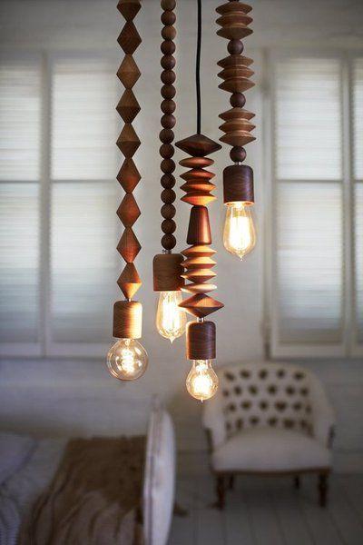 wooden pendant lights.