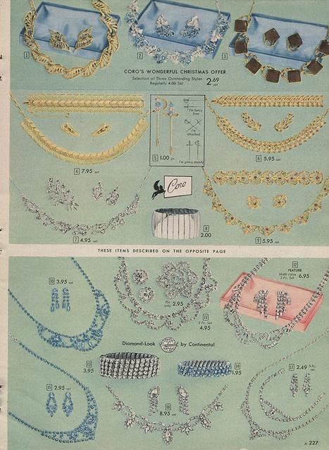 Coro and Diamond-Look jewelry: 1957 Simpsons - Sears Christmas Catalogue P227