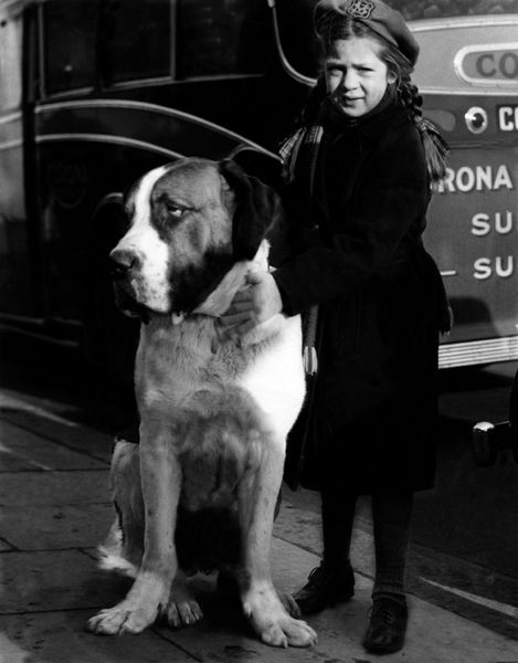 vintage girl and her dog