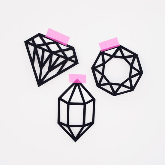 Printable Papercut gems . . . would be good to trace with chocolate on wax paper and let dry then peel off and stick in icing on a cupcake or cookie too!