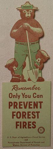 1957 Smokey The Bear vintage illustration Book Mark 1950s by Christian Montone, via Flickr