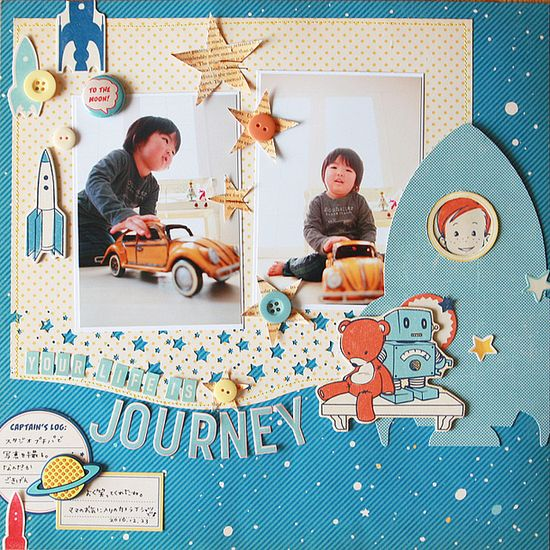 Journey #rocket #ship #scrapbook #layout #cute #robot #imagination