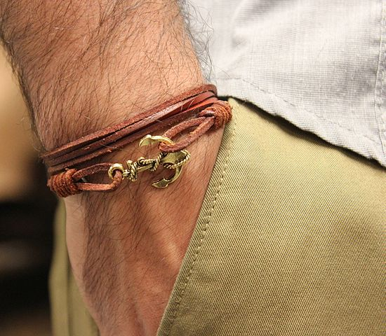 Fancy - Leather Anchor Bracelet