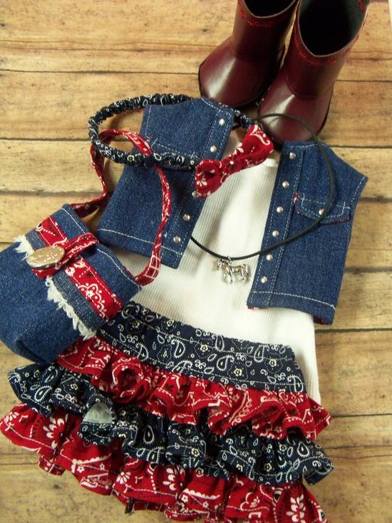 Ruffles and Cowboy Boots. $38.00. Liberty Jane patterns used.*