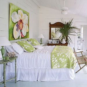 love the freshness of white and lime green