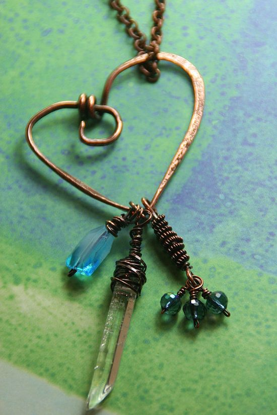 Organic Hammered Copper Heart Pendant with by AllowingArtDesigns, $39.00