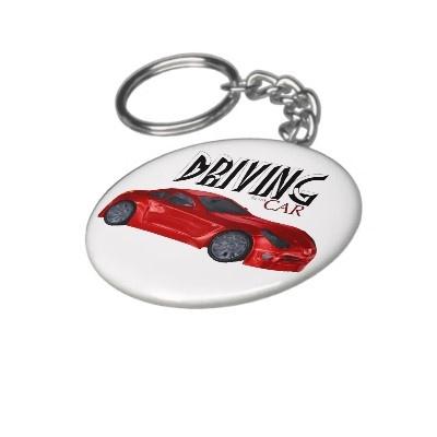Red Sport Car Round Keychain